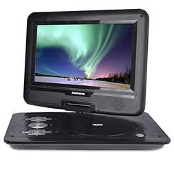 Portable DVD Player with Swivel Screen & Car Adapter in Blac
