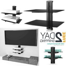 TV Wall Mount 2 Floating Large Shelf Tempered Glass Home DVD