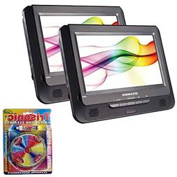 """Sylvania 9"""" Twin Dual Screen DVD Player  with Trisonic Laser"""