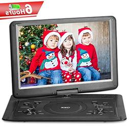 QKK Upgraded Version 15.4 Inch Portable DVD Player with 6 Ho