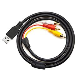 eBerry 5Ft/1.5M USB A Male to 3 RCA Male AV A/V TV Camcorder