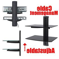 2xhome - 2x Black Floating Shelf with Strengthened Tempered
